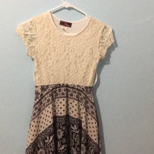 White and Black Patterned Girls Dress